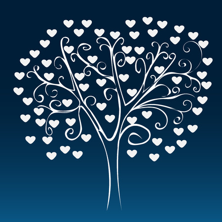 hintergrund liebe: White tree with hearts on a blue background. Love romance