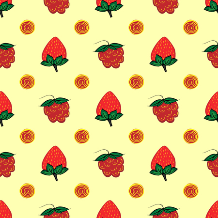 jams: raspberry strawberry berry seamless pattern red natural fruit Illustration