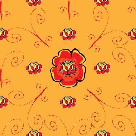 red poppy: Red poppy flower seamless pattern. Vector natural background