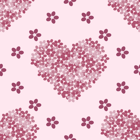 vector background: Pink floral heart romantic vintage red vector background seamless pattern