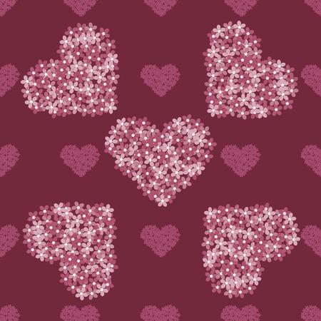 vintage background pattern: Pink floral heart romantic vintage red vector background seamless pattern