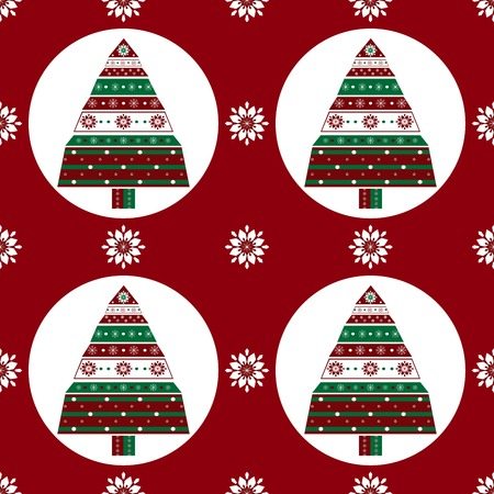 vector pattern: Gifts Christmas tree on red background seamless vector pattern
