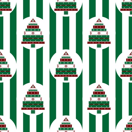 abstractly: Christmas tree gifts green stripes seamless pattern. Vector festive background abstractly