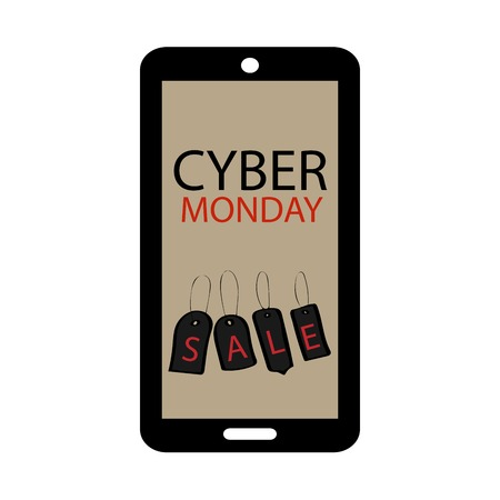 online trading: Cyber Monday sale phone gadgets technology. Online trading large discounts Illustration