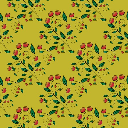frutos rojos: Red berries on a yellow background. Cranberries or lingonberries