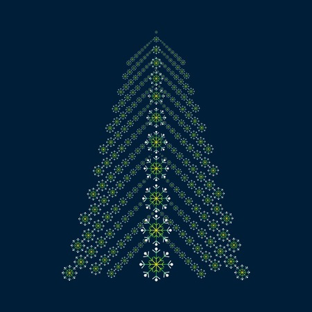 abstract vector background: Abstract Christmas tree from snowflakes. Green tree silhouette on a blue background