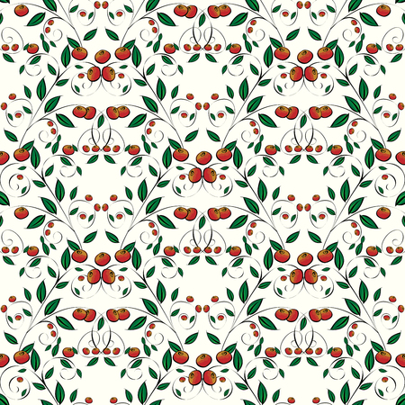 cranberry: Red berries on a white background. Cranberry or lingonberry. Seamless pattern Illustration