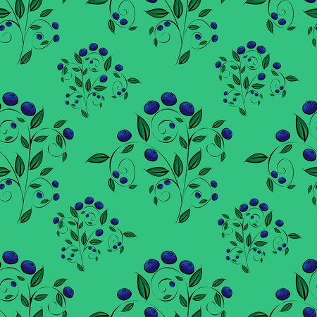 blueberries: Blue blueberries on a green background seamless pattern. Nature and plants Illustration