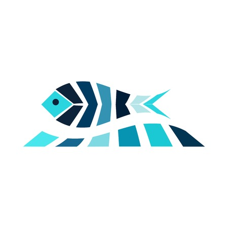 gills: Mosaic fish on the wave logo icon sea fishing the ocean. Blue universal sea animal vector image Illustration