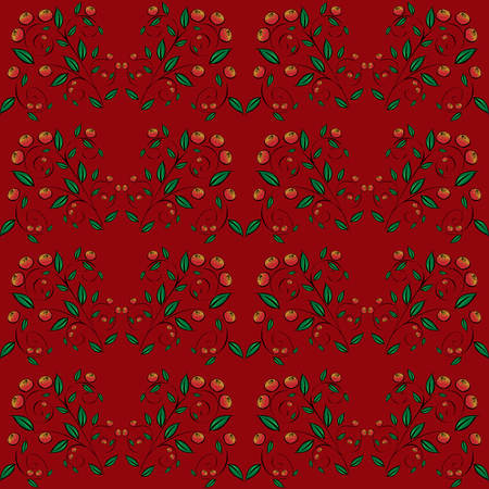 vector background: Cranberry currant red berries seamless background. Natural vector background