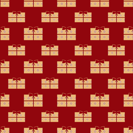 vector background: Gift boxes holiday seamless pattern. Red vector background