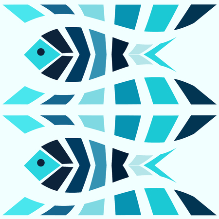 gills: Mosaic blue fish seamless pattern. Greek style vector background Illustration
