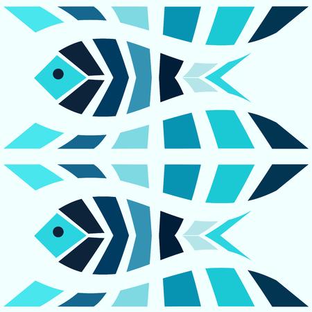 Mosaico pescado azul sin patrón. Fondo de vector de estilo griego Foto de archivo - 48362078