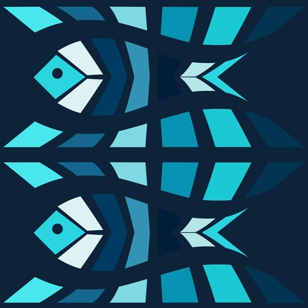 blue fish: Blue fish mosaic vector background. Natural seamless pattern Illustration