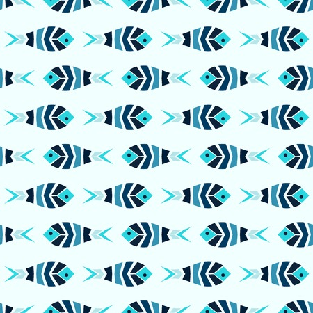 A flock of blue fish mosaic seamless pattern. Natural vector background in ancient style