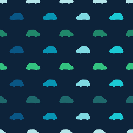 vector pattern: Silhouettes colored cars clouds seamless vector pattern. Blue background with green and blue machines