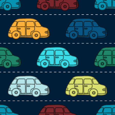 vector pattern: Mini retro cars seamless vector pattern. Road background with yellow orange blue red white cars