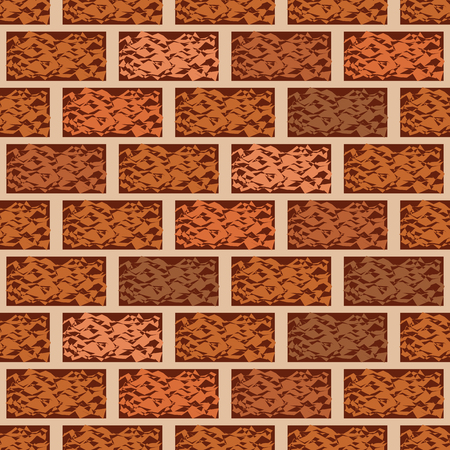 brick building: Brown brick wall seamless pattern vector background. Architecture brick building