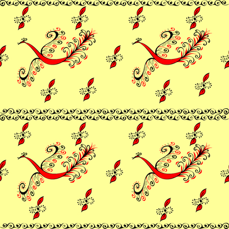 fable: Red fire bird peacock fairy seamless pattern. Vector floral background. Ethnic ornament