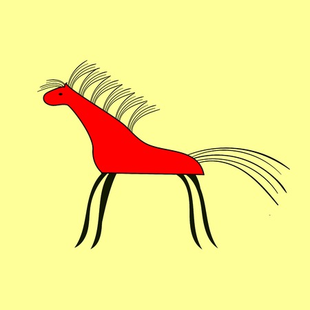 animal silhouette: Red horse pattern ethnic ornament. Animal silhouette