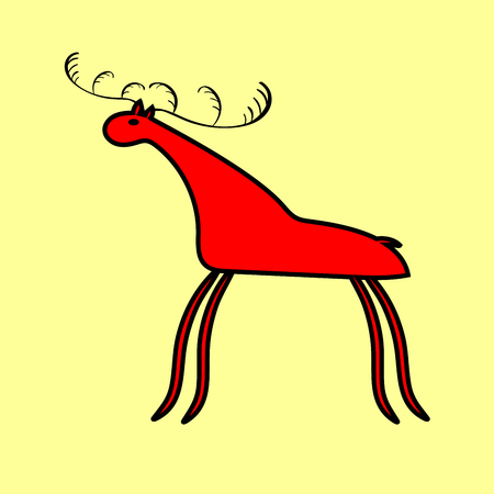 hoofed: Red deer or moose ethnic ornament. Picture animal national style
