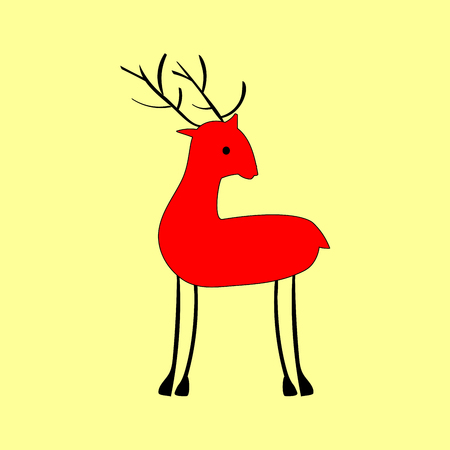 hoofed: Red deer in ethnic style. Forest animal nature