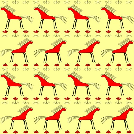 red horse: Red horse seamless pattern.