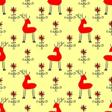 Red Christmas herten tussen de bloemen naadloze vector patroon achtergrond
