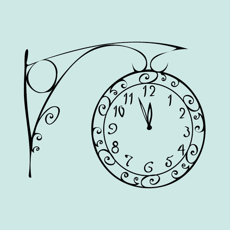 in midnight: Street clock with a dial of midnight New year. Retro vintage urban post. The time mechanism Illustration