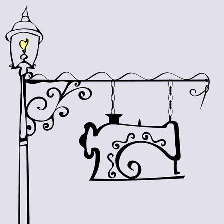 Taller de costura firmar Atelier sastrería. publicidad al aire libre de la vendimia retro. Máquina de coser. Moda y ropa Foto de archivo - 49611973