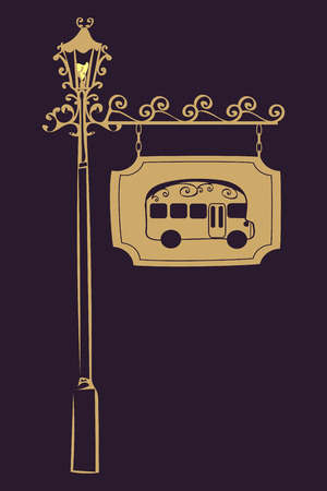 advertising column: Bus stop vintage road sign.  The transport and passengers. A street light