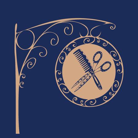 barber scissors: Vintage sign Barber comb and scissors. Profession and craft business Illustration