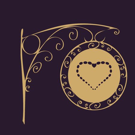 advertising column: Road sign vintage heart. Love and romance Valentines day. Wedding salon