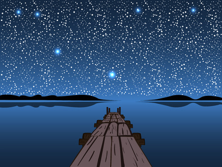 star sky: Night lake starry sky. Natural background stay quiet and romantic. Water landscape Illustration