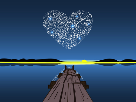 coeur diamant: Diamond heart on a night lake. Diamond heart on a night lake. Background for Valentines day or wedding. Romance and love.