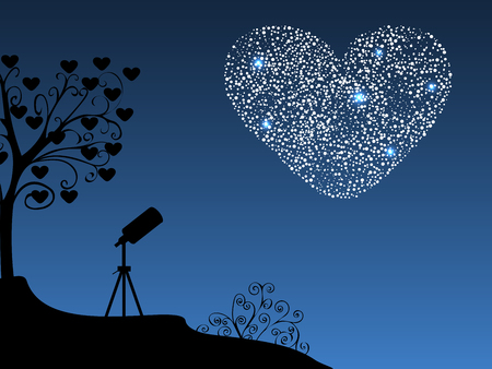 Romantic background telescope and heart. Wedding or Valentines day. The silhouette of the diamond heart in the night sky. Illustration