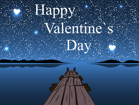 day and night: Happy Valentines day night water sky heart star. Romantic postcard. Diamond heaven. Love and relationships Illustration