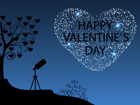 date night: Happy Valentines day Romantic starry sky. The telescope near the tree with the hearts. Heart of the stars in the night sky. Love and romance