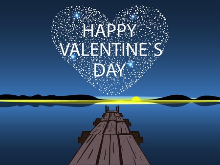 water reflection: Happy Valentines day star heart. Romantic postcard. Stars night water reflection love.