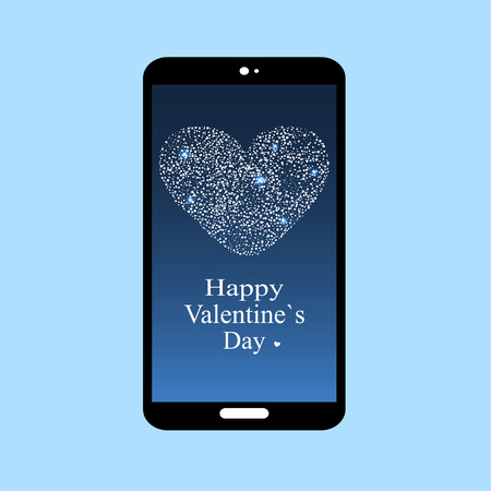date night: Happy Valentines day smartphone screen app. Technology and communication Internet. Phone confession of love