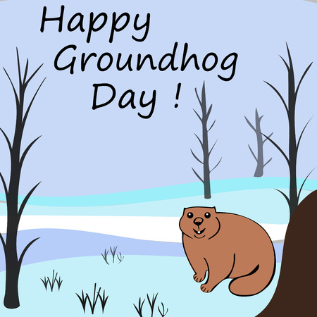 the winter holidays: Happy Groundhog day. Marmots emerged from burrows