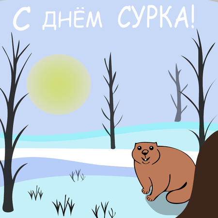 solstice: Happy Groundhog day. Marmots emerged from burrows. The inscription in Russian Illustration