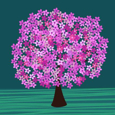 flowering: Flowering tree vector. Natural background beautiful romantic tree Illustration