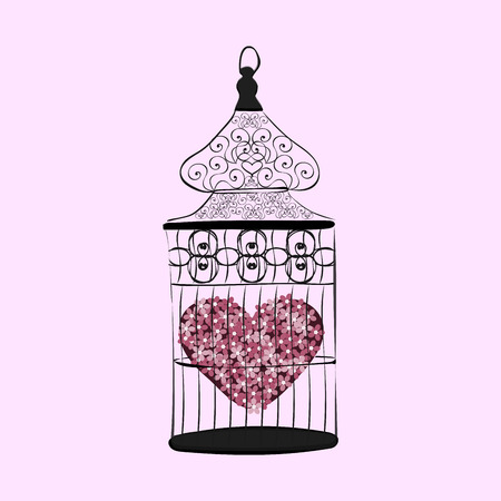 envy: Heart in a cage symbol separation love. Valentines day. Wedding and marriage. Romance and emotions. Sadness and sorrow. Unrequited love Illustration