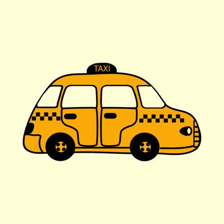 yellow car: Yellow car taxi urban public transport vector