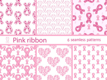 pink ribbon: Pink ribbon medical healthcare set seamless pattern. Collection of vector backgrounds Illustration