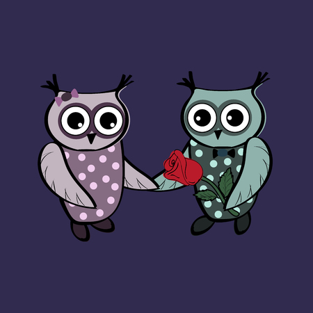 couple date: Cute owls on a date. Couple romance love relationships. Animals birds character Illustration