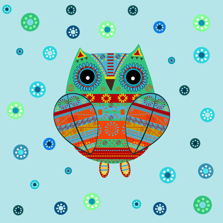 Cute owl with ethnic ornament. Animal bird symbol of wisdom. Funny owl. Vector owl. Bird of prey owl. Vektorové ilustrace