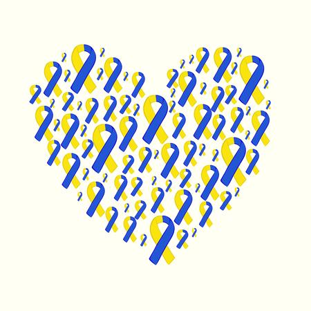 世界ダウン症の日黄色ブルーのリボン。ベクター イエロー ブルーのリボン。3 月 21 日。