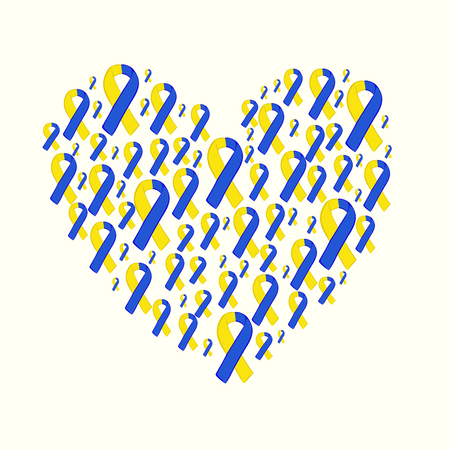World down syndrome day yellow blue ribbon. Vector yellow blue ribbon. March 21 date. Çizim